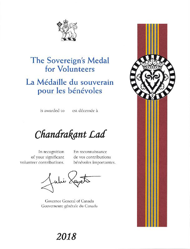 Sovereign's Medal Certificate